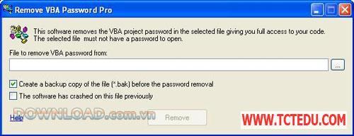 remove vba 3 1 Phần mềm Remove VBA Password