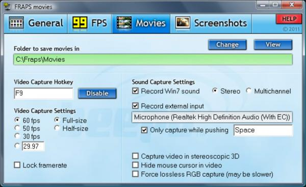 fraps screenshot Phần mềm Media Player Codec Pack